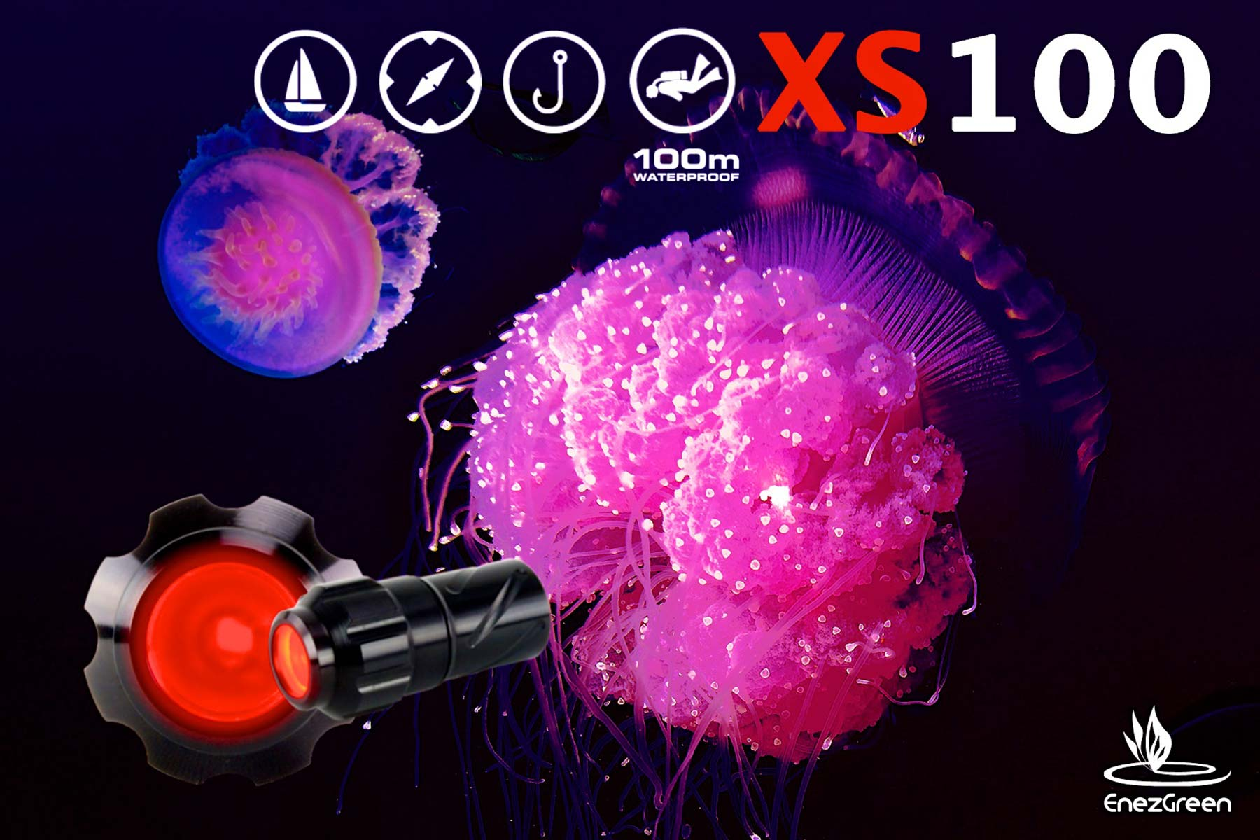 mini lampe torche xs100 étanche 100 mètres lampe de plongée sous marine